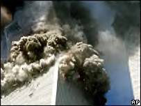 South tower of New York's World Trade Center collapses after attacks on 11 September 2001. Image: AP