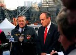 Donald Rumsfeld and Rudy Giuliani at the site of the World Trade Center, on November 14 2001.
