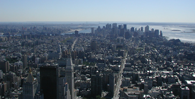 Lower Manhattan - New York City.  			  A skyline view from the Empire State Building